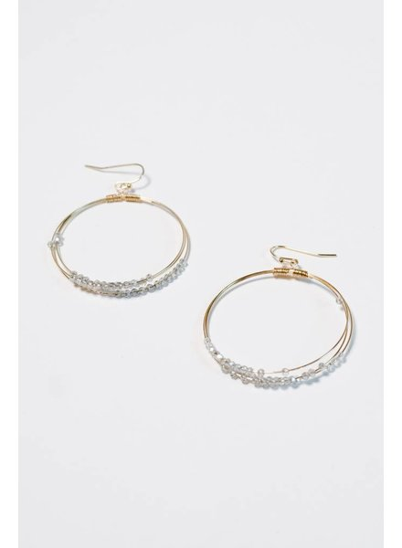 Gold Blue beaded gold hoop earring