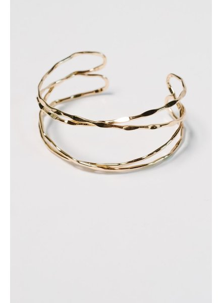 Gold Hammered gold cuff