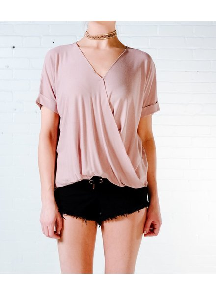 Blouse Dusty rose cross front short sleeve blouse