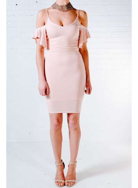 Midi Ruffle drop sleeve dress