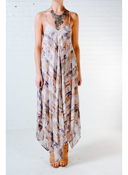 Maxi Brushstroke asymmetric maxi dress