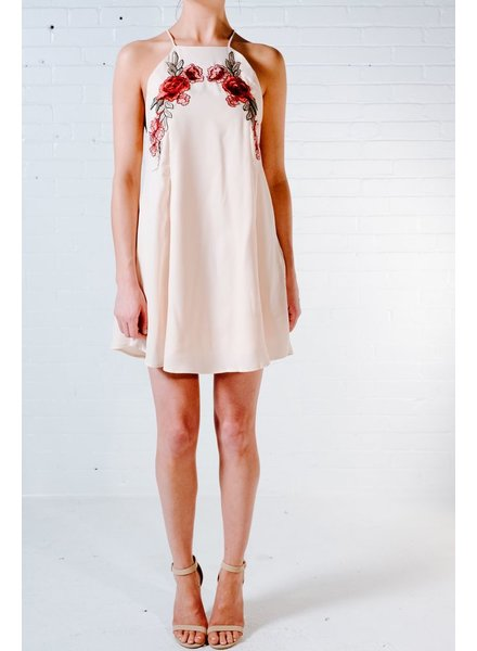 Dressy Rose embroidered strappy back shift