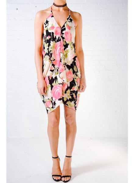 Cocktail Rose print front ruffle dress