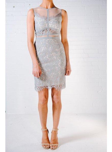 Mini Sage and sheer lace dress