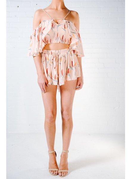 Shorts Pink watercolor floral shorts