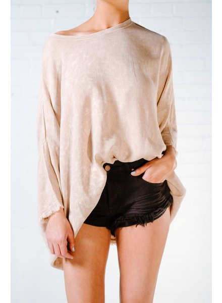 T-shirt Natural fray hem oversized top