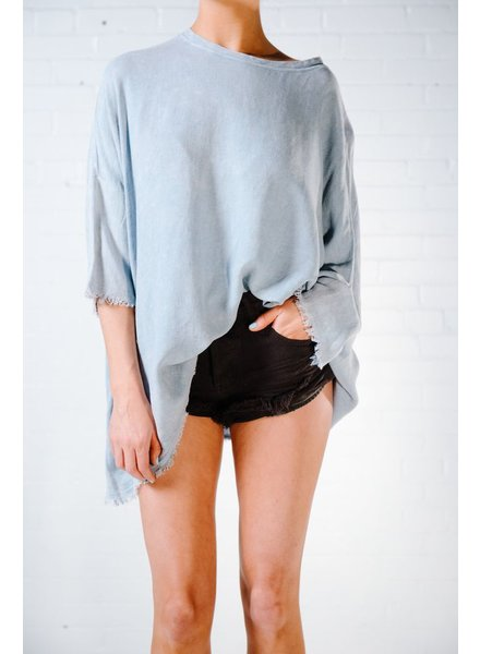 T-shirt Blue fray hem oversized top