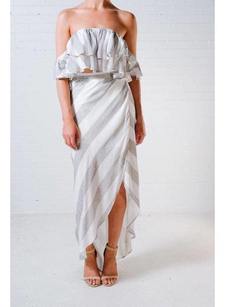 Skirt Striped high/low maxi skirt