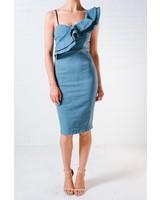 Dressy Demin ruffle shoulder dress