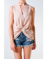 Blouse Blush knot front top