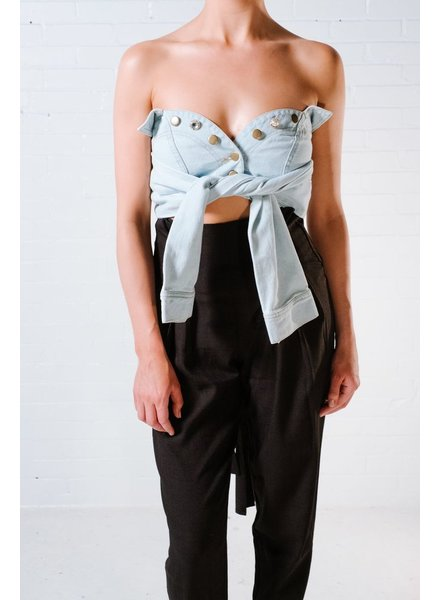 Crop Denim tie sleeve crop