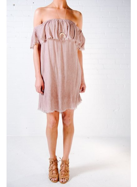 Casual Rose fray hem OTS dress