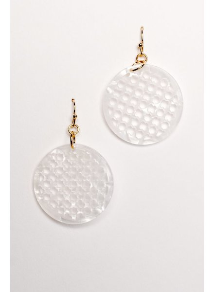 Gold Mini clover disk dangle earring