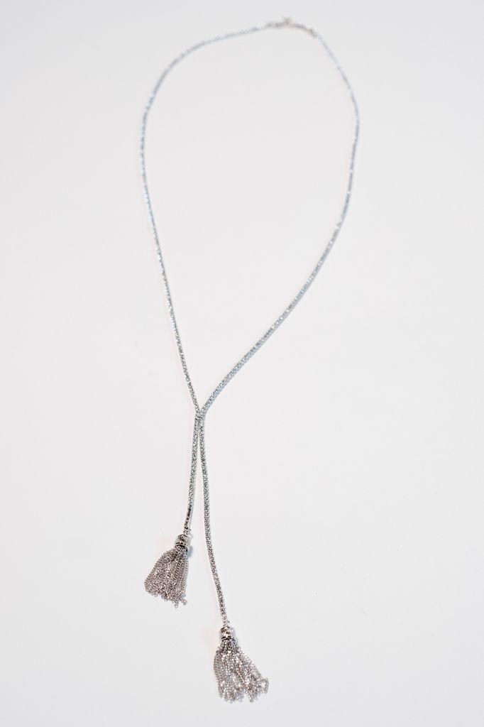 Dressy Rhinestone Y tassel necklace