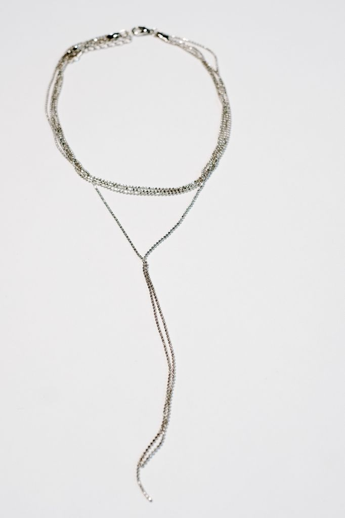 Silver Multichain Y shaped necklace