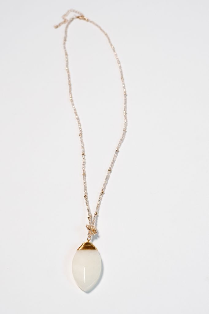 Stone Beaded marquise stone pendant