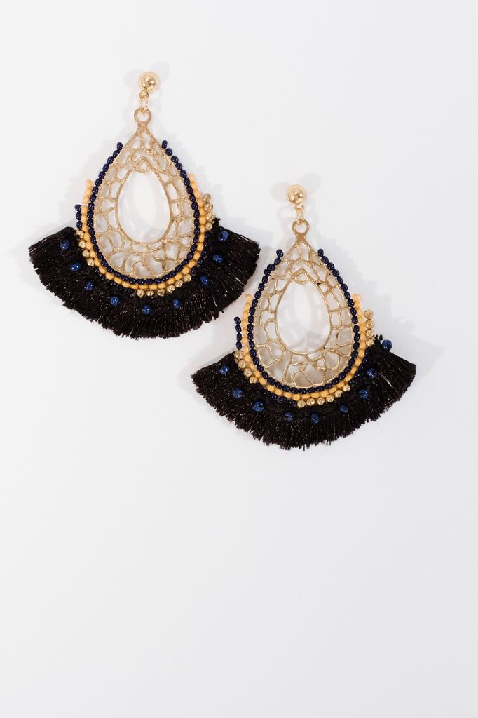 Trend Beaded black fringe earrings