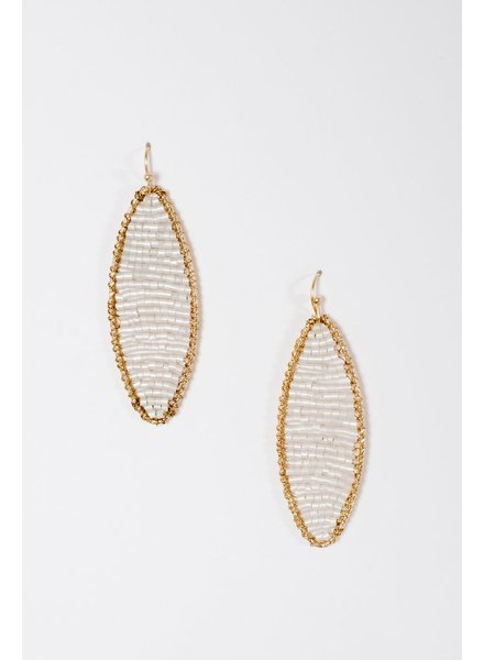 Trend Oblong white beaded earrings