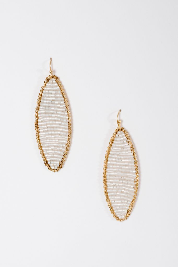 Trend Oblong white beaded earrings