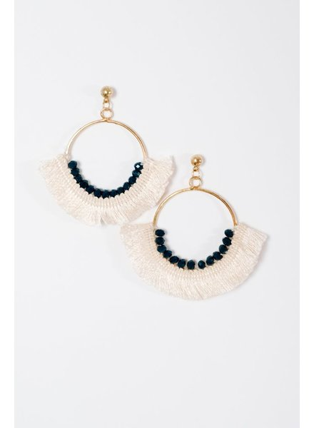 Trend Bead & fringe hoop earrings