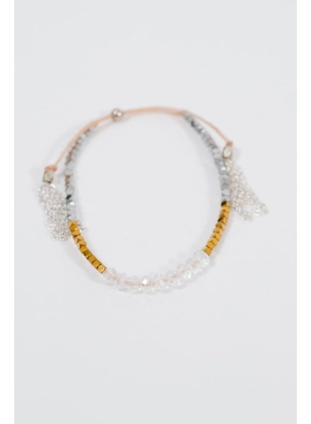 Stone Multi-bead drawstring bracelet