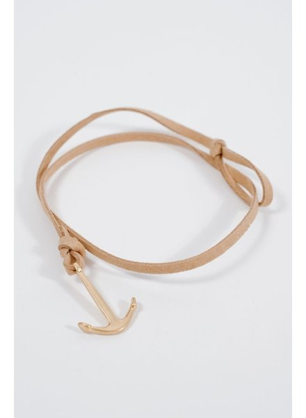 Leather Anchor wrap bracelet