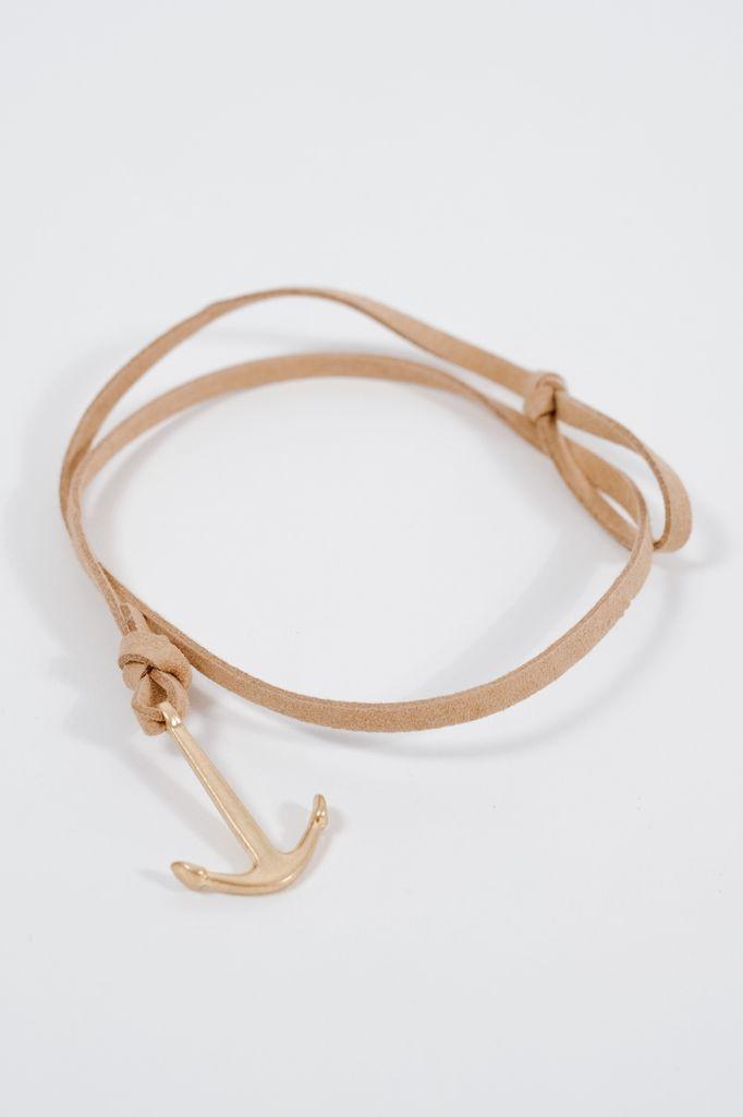 Leather Anchor wrap bracelet