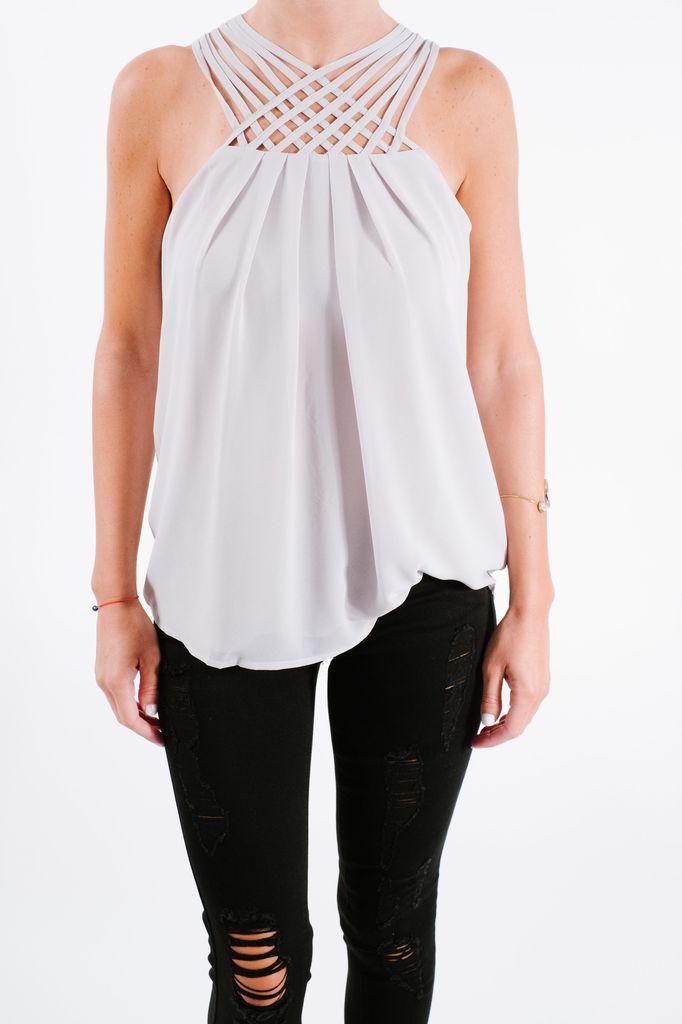 Tank Silver lattice bodice blouse
