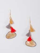 Trend Beige drop stone tassel earrings