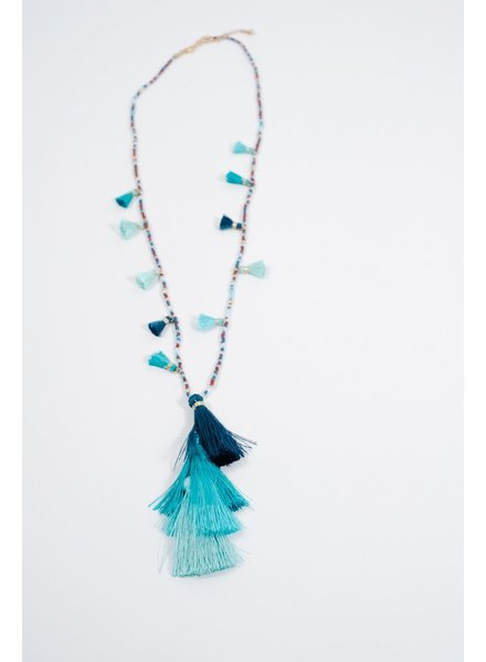 Long Multi-bead and tassel necklace
