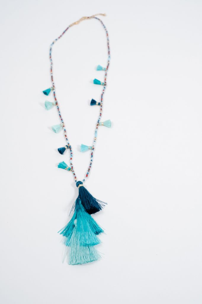 Attractive Long Multi-bead and tassel necklace - Bobbles and Lace RK02