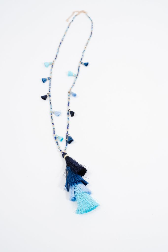 Long Multi-bead and blue tassel necklace