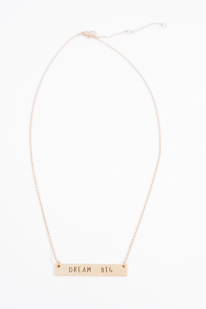 Short Dream Big mantra necklace