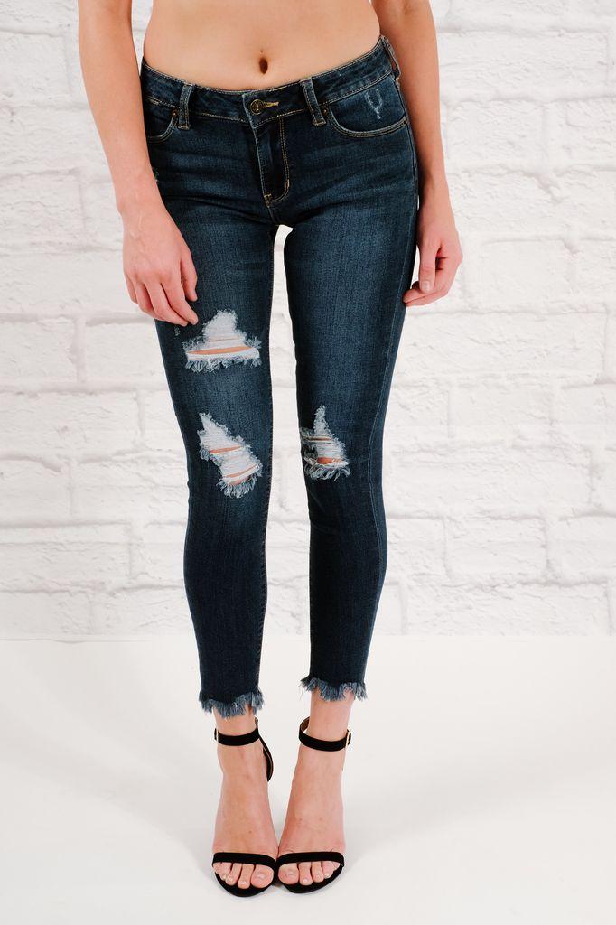 Jeans Medium denim fray hem skinny jean