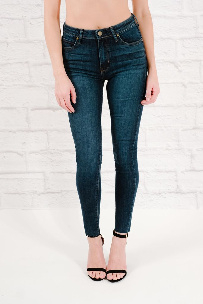 Jeans Mid-rise classic cut skinny with cut bottom