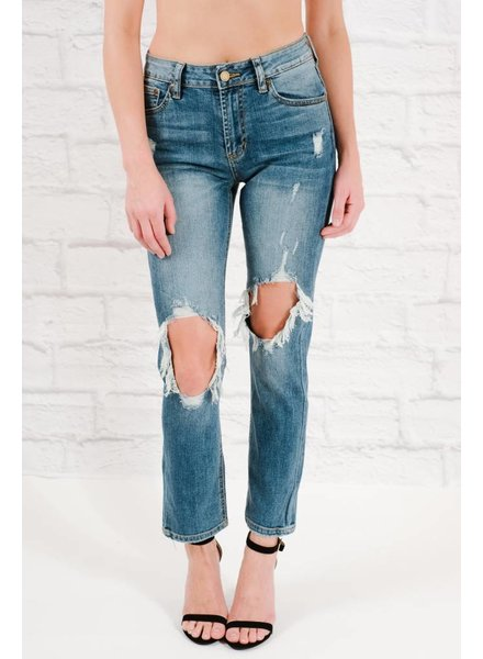 Jeans Destroyed high rise straight leg jeans