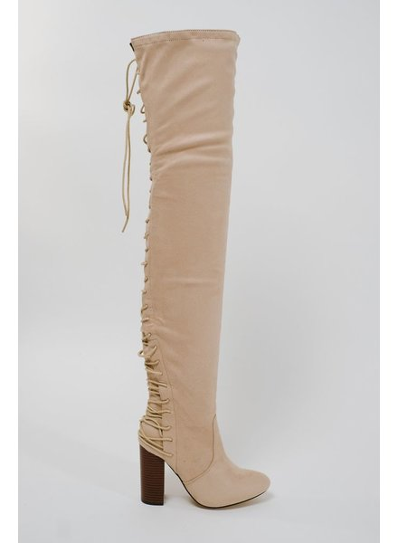 Boot Suede laced back boot