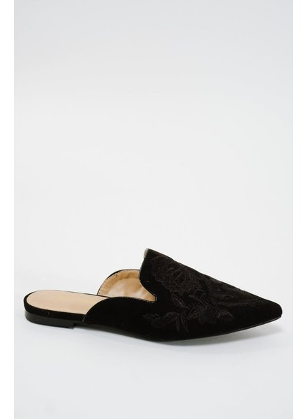 Flat Suede embroidered slipper slide