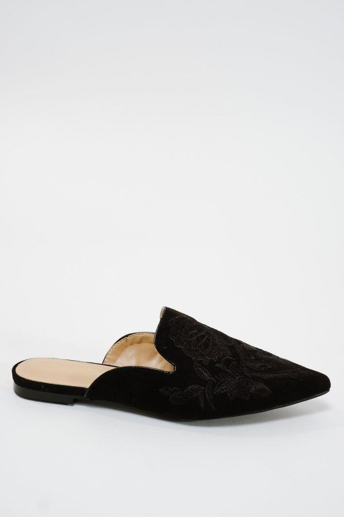 Flat Suede embroidered slipper slide