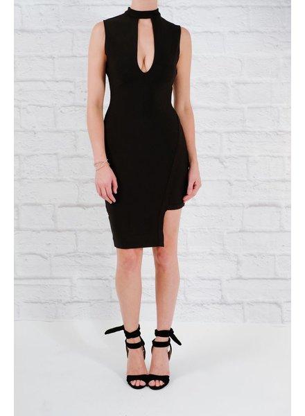 Dressy Choker neck asymmetric dress