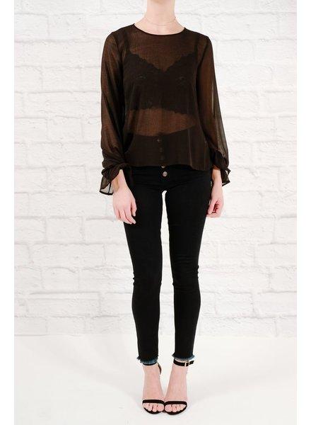 Blouse Sheer ruffled sleeved blouse