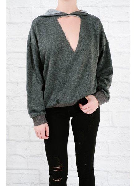 Sweatshirt Charcoal cutout sweatshirt