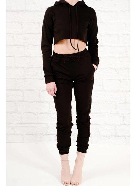 Sweatshirt Black cropped hoodie