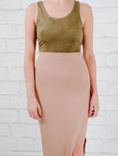 Bodysuit Olive suedey scoop back bodysuit