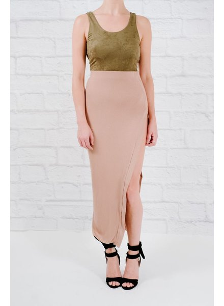 Skirt Mocha high slit maxi skirt