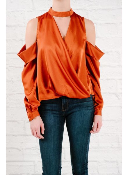 Blouse Rust silky cold shoulder