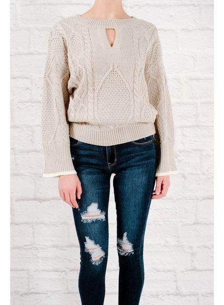 Sweater Gray keyhole cutout sweater