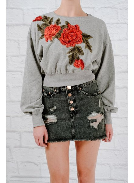 Sweatshirt Rose detail cropped sweatshirt