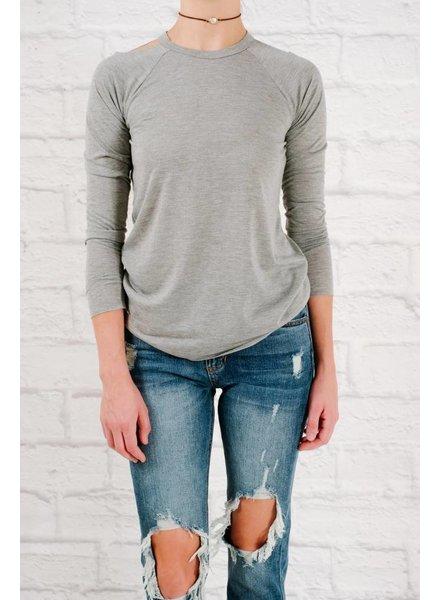 Long Grey cold shoulder top