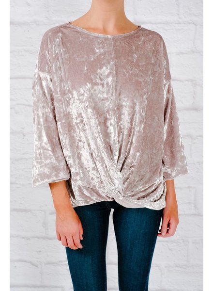 Blouse Crushed velvet knot front top